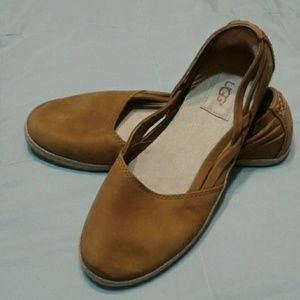 Ugg Flats Brown Slip On Shoes Suede 7
